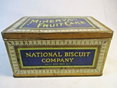Vintage Advertising Tin Minerva Fruit Cake National Biscuit Company New York