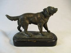 Antique Bronze Hunting Dog Retriever Miniature Statue #629