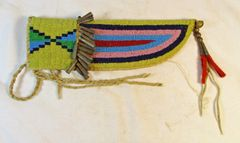 Native American Style Beaded Knife Sheath Tin Cones