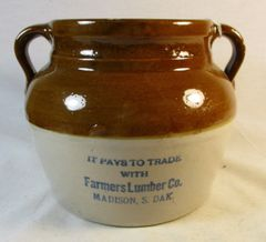 Vintage Farmers Lumber Co Madison S. Dak. Bean Pot Crock #213