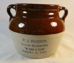 Vintage P.J. Ruden Emery S. Dak. Bean Pot Crock
