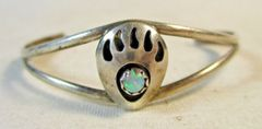 Silver and Opal Native American Bear Paw Cuff Bracelet #6326