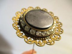 "Vintage Hat Pin 9"" Black Gold and Crystals with Engraved Moon and Stars #HP4"