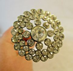 "Vintage Hat Pin 9"" Round Crystals #HP5"