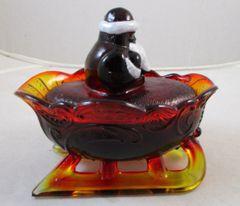 Vintage Westmoreland Ruby Amberina Manganese Glow Santa Sleigh #13-171