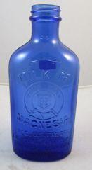 "Antique Cobalt Blue Glass Milk Of Magnesia Bottles Chas. Phillips 6.75"" #13-121"