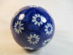 Vintage Scottish Ceramic Cobalt Blue & White Floral Design Carpet Ball #CP2