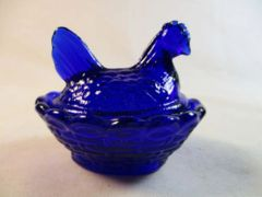 Rosso Cobalt Blue Small Hen on Basket Nesting Dish #13-2A