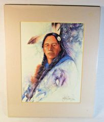"26/100 Chippewa Artist David W Craig Watercolor Print ""Spirit Within"" #6862"