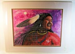 "Chippewa Artist David W Craig Watercolor Print ""Wind Dancer"" #6864"