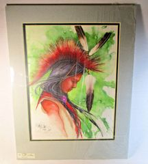 "62/150 Chippewa Artist David W Craig Watercolor Print ""He Began to Dream"" #6865"
