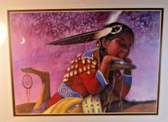 "41/300 Chippewa Artist David W Craig Watercolor Print ""Dream Catcher"" #6867"