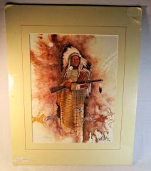 "20/150 Chippewa Artist David W Craig Watercolor Print ""Warrior Stands"" #6868"