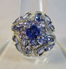 Tanzanite, Amethyst and Diamond Sterling Silver Cocktail Ring Size 10 #6870