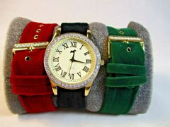 NIB Jeffrey Banks Home Watch with 3 Velvet Bands #6871