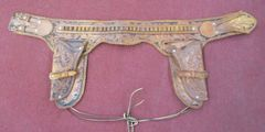 Vintage Tooled Cowboy Belt With 31 Rounds & Double Hunter Tooled Holsters #801