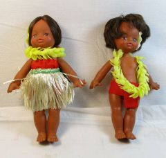 Vintage 1950's Rubber Hula Boy and Hula Girl Rubber Dolls