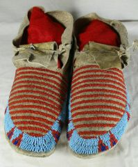 Circa 1890's Beaded Sioux Moccasins