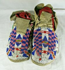 Circa 1890's Fully Beaded Sioux Moccasins