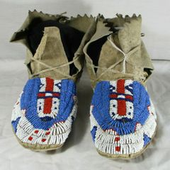 Circa 1900's Fully Beaded Sioux Moccasins