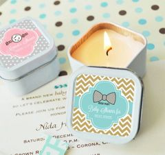 Personalised Square Travel Candle Tins - Baby Shower Theme