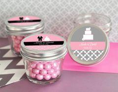 Personalised Small 4 oz Mason Jars - Wedding Theme