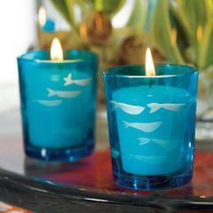 Carved Glass Fish Tea Light Holder - Set of 8