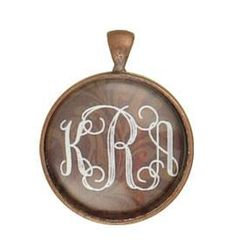"Monogram Pendant 1"" Round Bubble Glass-With Bronze Background with 18"" Chain"