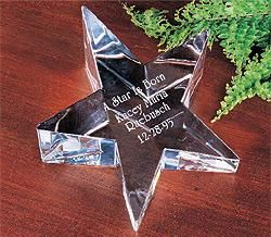ENGRAVED CRYSTAL STAR PAPERWEIGHT