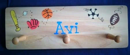 PERSONALIZED NATURAL WOOD SPORT PEGBOARD-HAND PAINTED