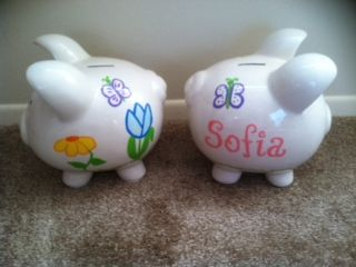 PERSONALIZED SPRING FLOWER SMALL PIGGY BANK-HAND PAINTED