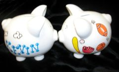 PERSONALIZED SPORTS SMALL PIGGY BANK-HAND PAINTED