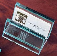 BUSINESS CARD HOLDER FOR DESK - OPTIC CRYSTAL ENGRAVED