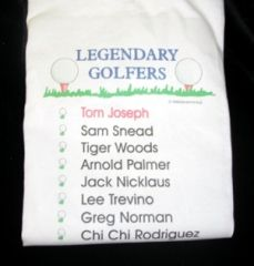 PERSONALIZED LEGENDARY GOLFER TEE SHIRT (tm) -IMPRINTED