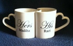 HEART HANDLE HIS & HER MUGS-PERSONALIZED