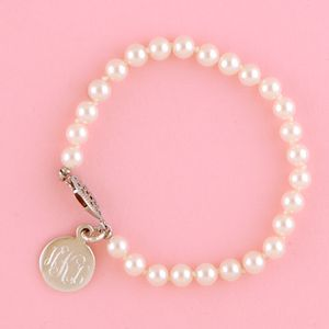 """Pearl Bracelet with Sterling Round Disc-7"""""""