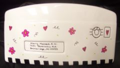 CERAMIC ENVELOPE-LG -Check Heart Flowers-HAND PAINTED