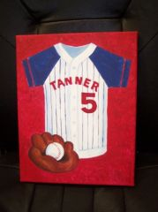"BASEBALL PAINTING BY TIRK-11""X14"" - PERSONALIZED ORIGINAL"