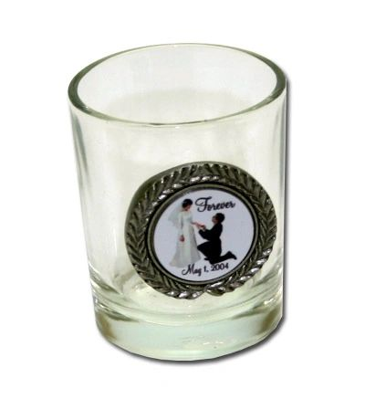Shot Glass-with Imprinted Pewter Disc