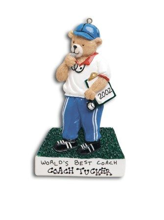 Coach Bear Personalized Ornament