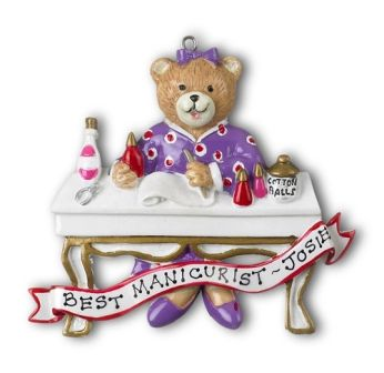 Manicure Bear Personalized Ornament