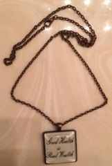 """Good Health is Real Wealth"" Rectangle Charm on 24"" Copper Chain"
