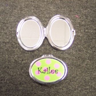 Personalized Name Oval Purse Mirror-Magnified & Regular