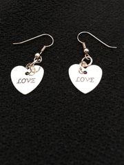 Heart Earrings saying Love