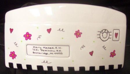 CERAMIC ENVELOPE-LG -Check Heart Flowers-HAND PAINTED