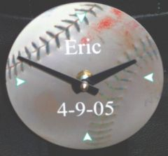 PERSONALIZED DESK CLOCK-REAL BASEBALL BACKGROUND