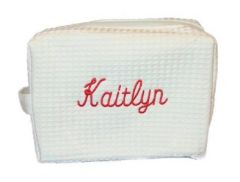 EMBROIDERED SMALL COSMETIC BAG- WHITE WAFFLE WEAVE