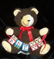"BEAR-7'""- WITH INITIAL WOOD LETTER BLOCKS"