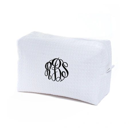 EMBROIDERED LG. COSMETIC BAG-WHITE WAFFLE WEAVE