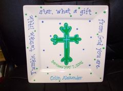 PERSONALIZED HAND PAINTED BAPTISM PLATE-BOY